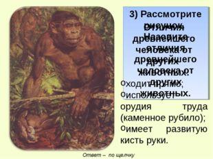 3) Рассмотрите рисунок. Назовите отличия древнейшего человека от других живот