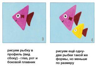 рисуем рыбку в профиль (вид сбоку) - глаз, рот и боковой плавник рисуем ещё о