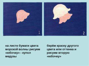 на листе бумаги цвета морской волны рисуем «юбочку» - купол медузы берём крас