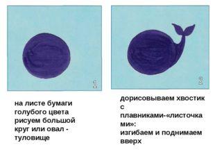 на листе бумаги голубого цвета рисуем большой круг или овал - туловище дорисо