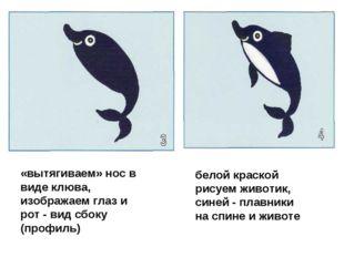 «вытягиваем» нос в виде клюва, изображаем глаз и рот - вид сбоку (профиль) бе