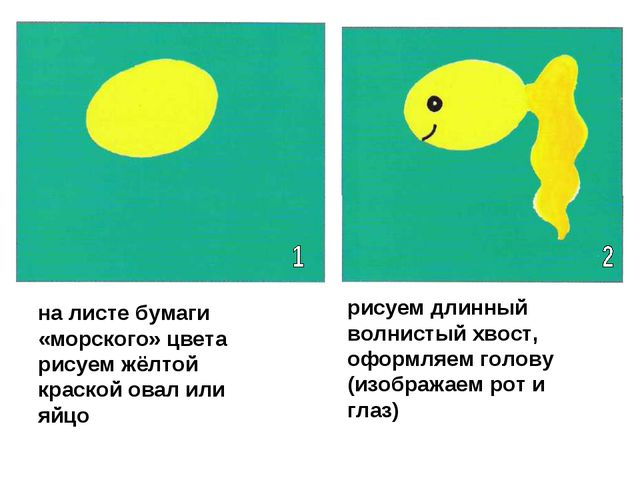 на листе бумаги «морского» цвета рисуем жёлтой краской овал или яйцо рисуем д...