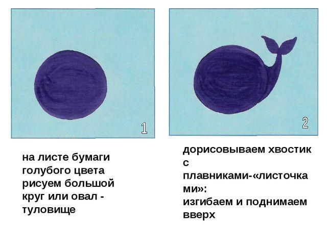 на листе бумаги голубого цвета рисуем большой круг или овал - туловище дорисо...