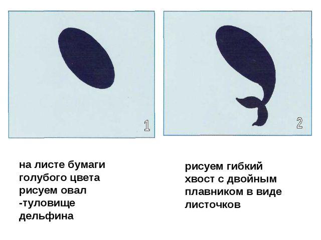 на листе бумаги голубого цвета рисуем овал -туловище дельфина рисуем гибкий х...