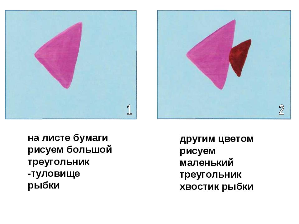 на листе бумаги рисуем большой треугольник -туловище рыбки другим цветом рису...