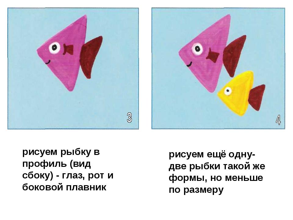 рисуем рыбку в профиль (вид сбоку) - глаз, рот и боковой плавник рисуем ещё о...