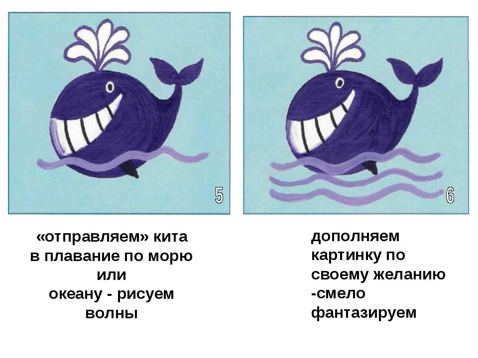 «отправляем» кита в плавание по морю или океану - рисуем волны дополняем карт...