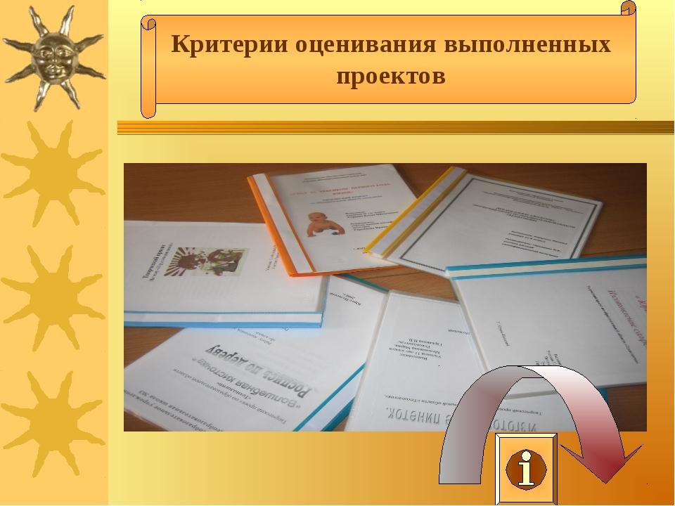 Критерии оценивания выполненных проектов