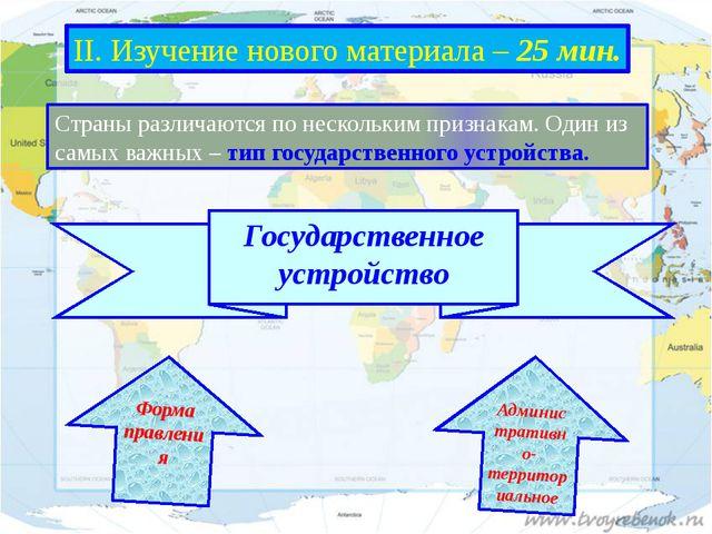 Форма правления II. Изучение нового материала – 25 мин. Страны различаются по...