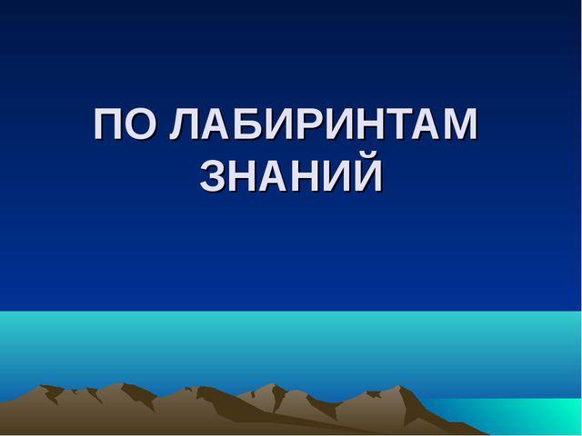 ПО ЛАБИРИНТАМ ЗНАНИЙ