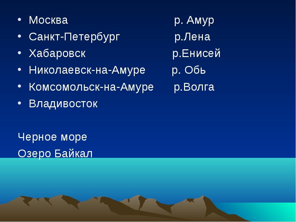 Москва р. Амур Санкт-Петербург р.Лена Хабаровск р.Енисей Николаевск-на-Амуре...