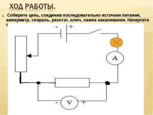Соберите цепь, соединив последовательно источник питания, амперметр, спираль