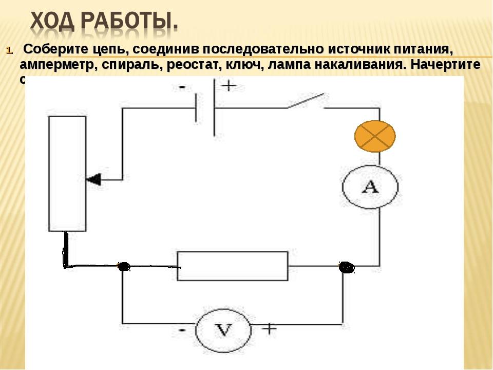 Соберите цепь, соединив последовательно источник питания, амперметр, спираль...