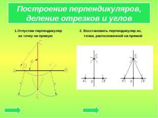 Построение перпендикуляров, деление отрезков и углов 1.Отпустим перпендикуляр