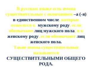 В русском языке есть имена существительные с окончанием –а (-я) в единственно