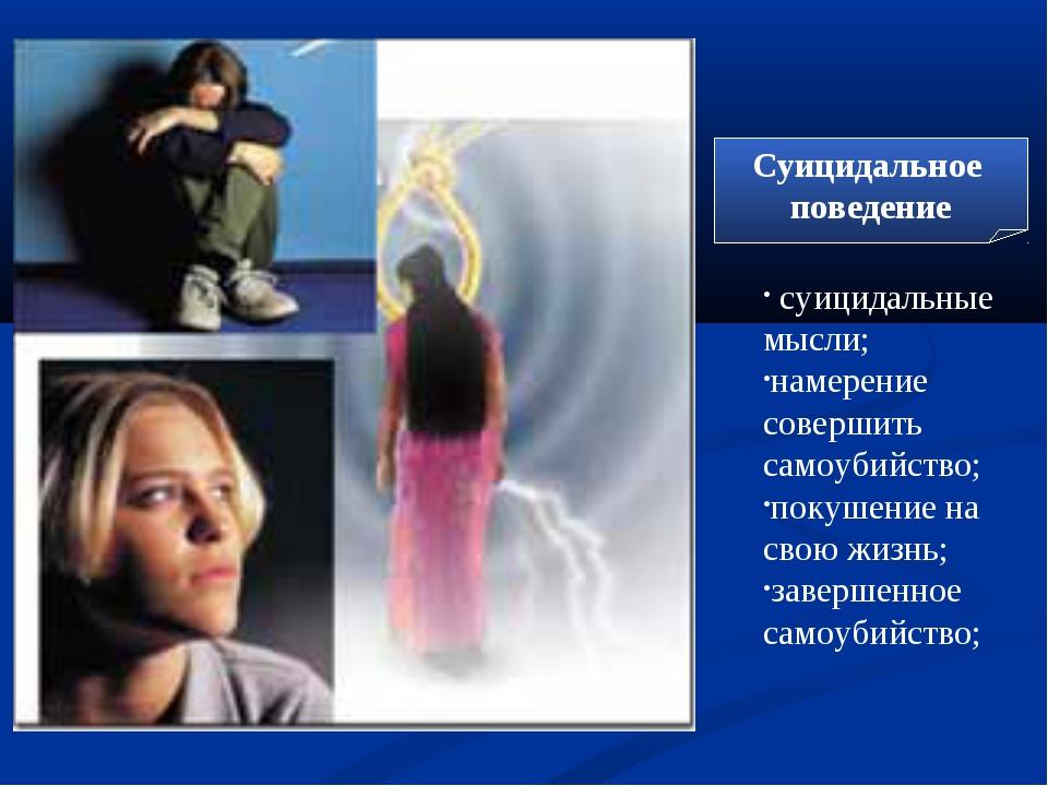 Суицидальное поведение суицидальные мысли; намерение совершить самоубийство;...