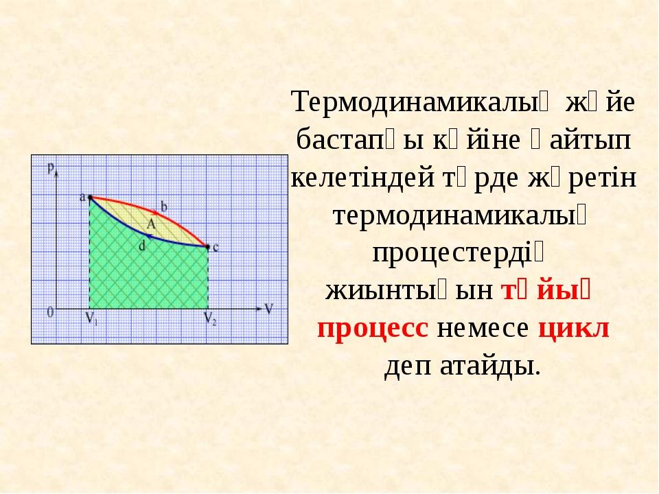 Термодинамикалық жүйе бастапқы күйіне қайтып келетіндей түрде жүретін термоди...