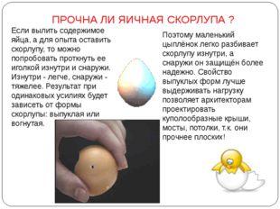 ПРОЧНА ЛИ ЯИЧНАЯ СКОРЛУПА ? Если вылить содержимое яйца, а для опыта оставить