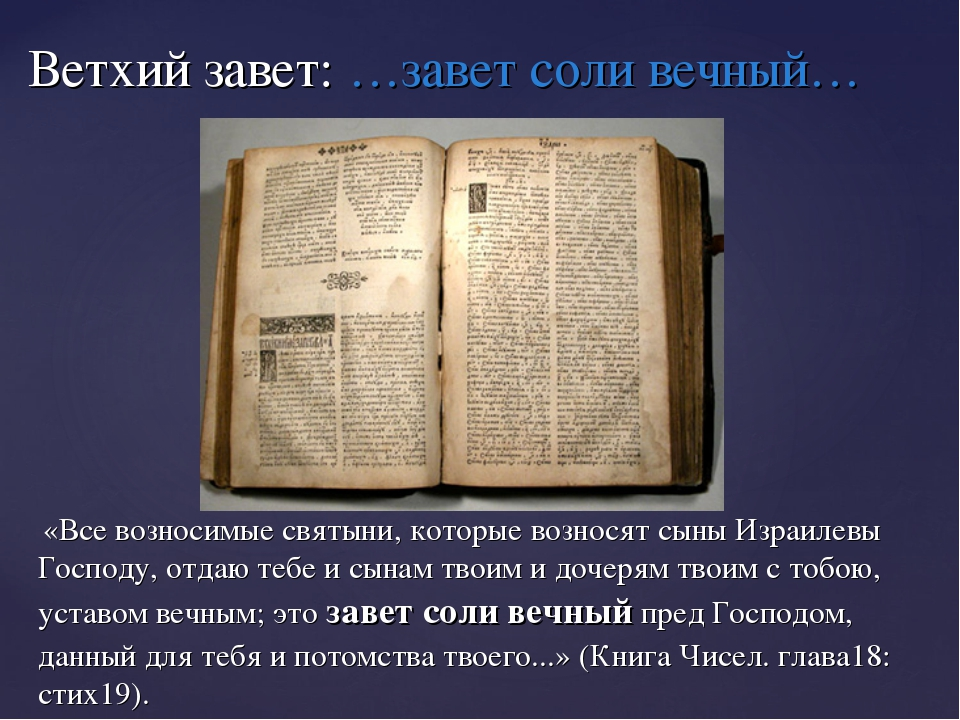 Ветхий завет: …завет соли вечный… «Все возносимые святыни, которые возносят с...