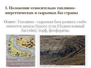 Ответ: Топливно –сырьевая база развита слабо: имеются запасы бурого угля (Под