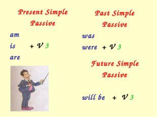 Present Simple Passive am is + V 3 are Past Simple Passive was were + V 3 Fut