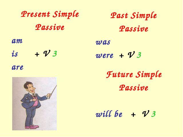 Present Simple Passive am is + V 3 are Past Simple Passive was were + V 3 Fut...