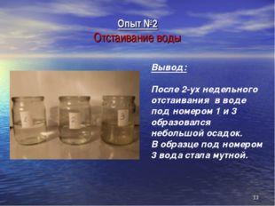 Опыт №2 Отстаивание воды * Вывод: После 2-ух недельного отстаивания в воде по