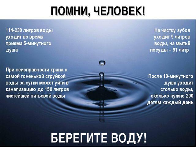 * ПОМНИ, ЧЕЛОВЕК! 114-230 литров воды уходит во время приема 5-минутного душа...