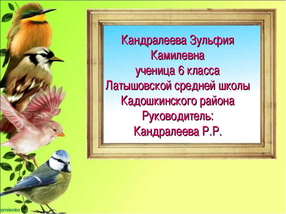 Кандралеева Зульфия Камилевна ученица 6 класса Латышовской средней школы Кадо...