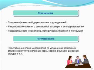 Организация Создание финансовой дирекции и ее подразделений Разработка положе
