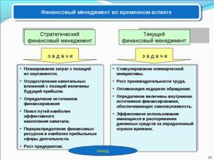 Финансовый менеджмент во временном аспекте Текущий финансовый менеджмент Стра