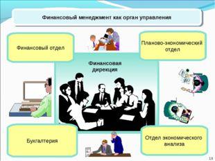Финансовый менеджмент как орган управления Планово-экономический отдел Финанс