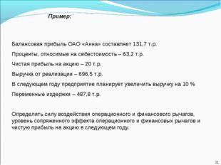 Пример: Балансовая прибыль ОАО «Анна» составляет 131,7 т.р. Проценты, относим