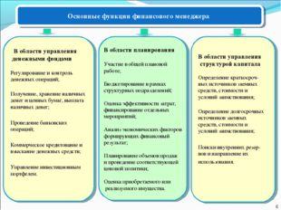 Основные функции финансового менеджера В области планирования Участие в общей