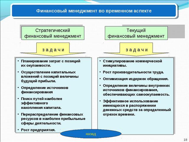 Финансовый менеджмент во временном аспекте Текущий финансовый менеджмент Стра...