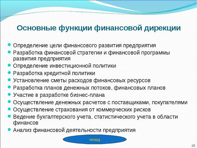 Основные функции финансовой дирекции Определение цели финансового развития пр...