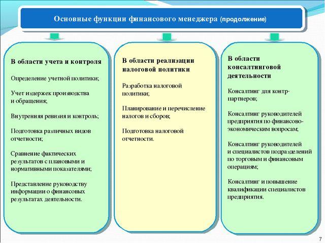 В области учета и контроля Определение учетной политики; Учет издержек произв...
