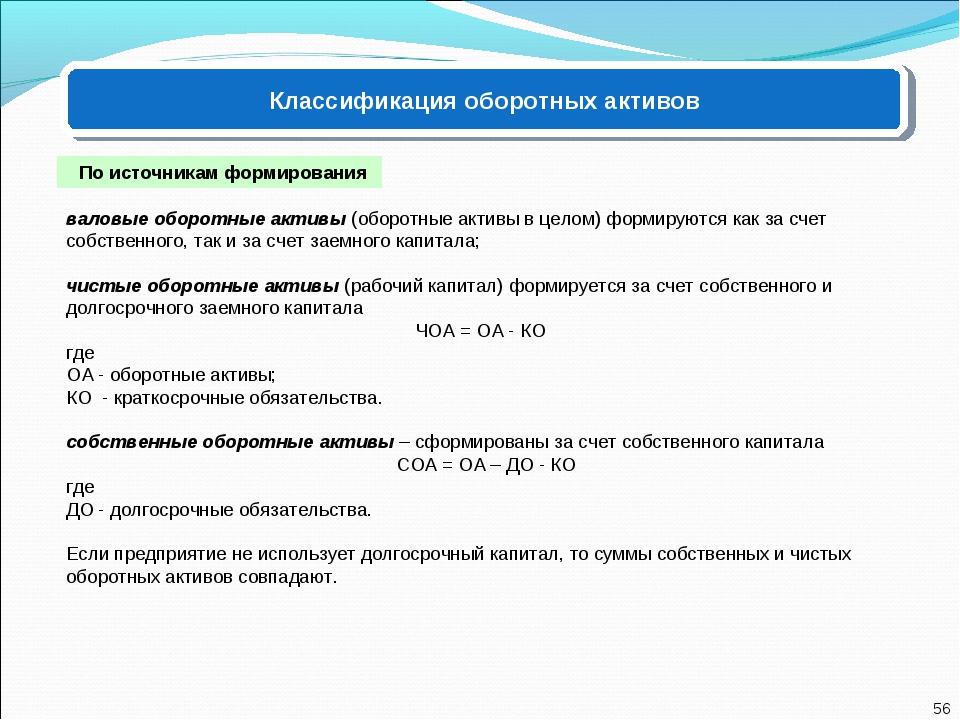 Классификация оборотных активов По источникам формирования валовые оборотные...