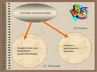 СИСТЕМЫ → СИСТЕМНЫЙ ПОДХОД →ДЕЯТЕЛЬНОСТЬ = системно – деятельностный подход (