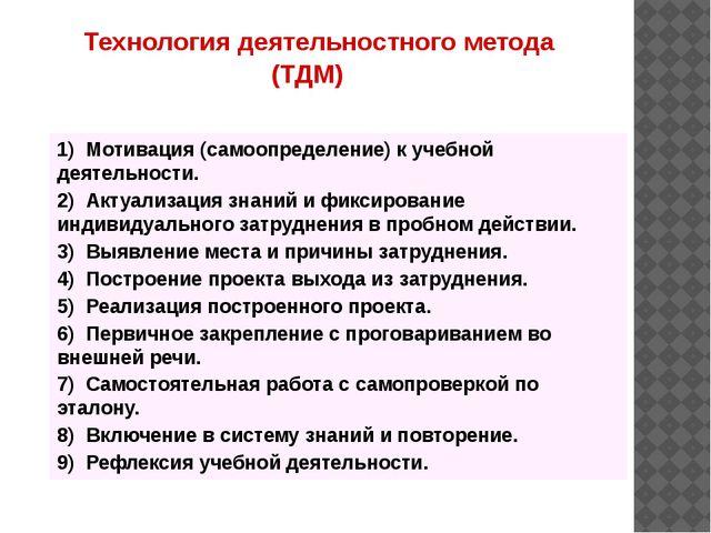 1) Мотивация (самоопределение) к учебной деятельности. 2) Актуализация знаний...