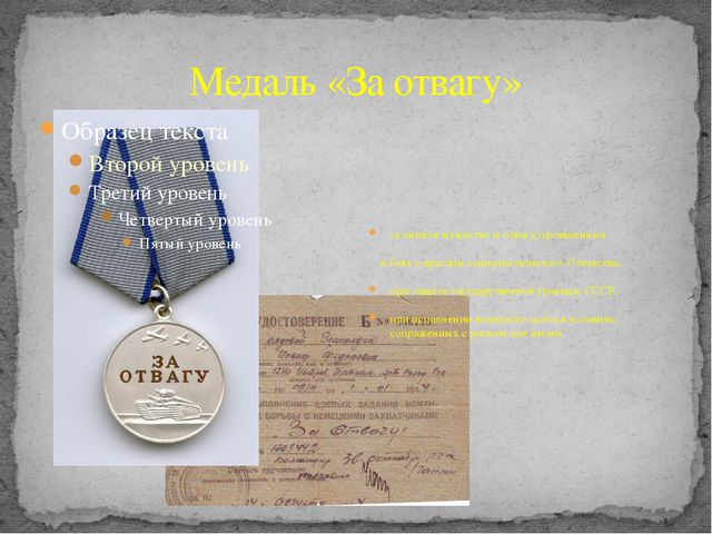 Медаль «За отвагу» за личное мужество и отвагу, проявленные в боях с врагами...