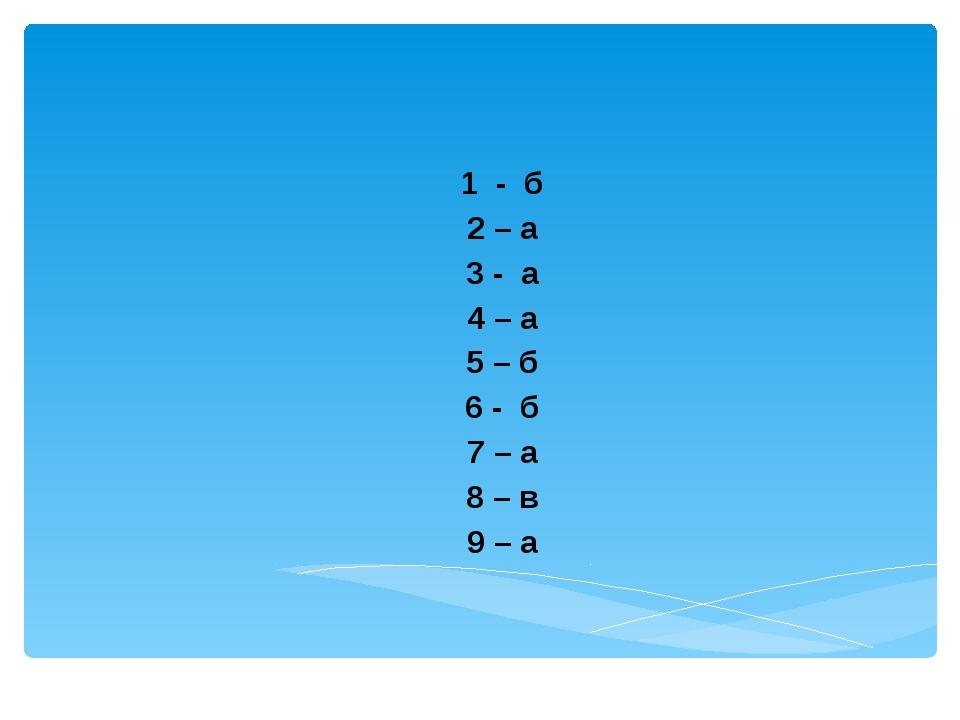 1 - б 2 – а 3 - а 4 – а 5 – б 6 - б 7 – а 8 – в 9 – а