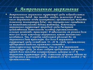 4. Антропогенное загрязнение Антропогенное загрязнение окружающей среды подра
