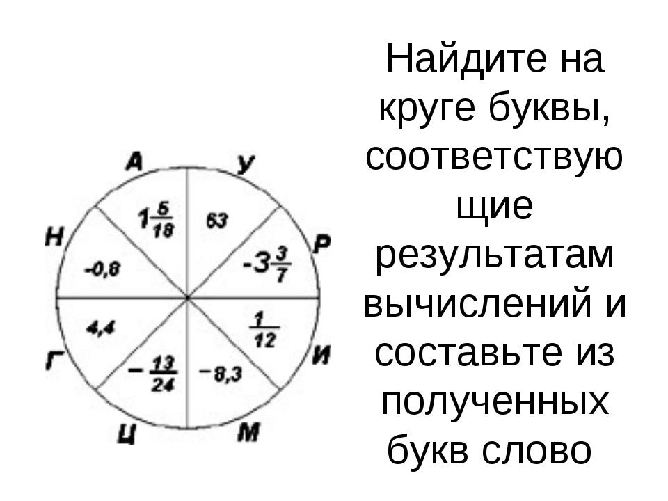 Найдите на круге буквы, соответствующие результатам вычислений и составьте из...