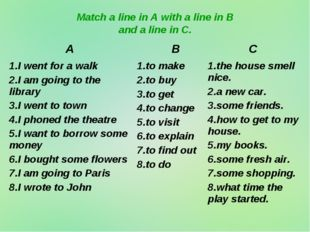 Match a line in A with a line in B and a line in C. A BC 1.I went for a wal