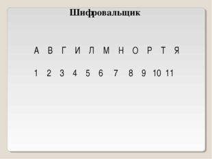 Шифровальщик А В Г И Л М Н О Р Т Я 1 2 3 4 5 6 7 8 9 10 11