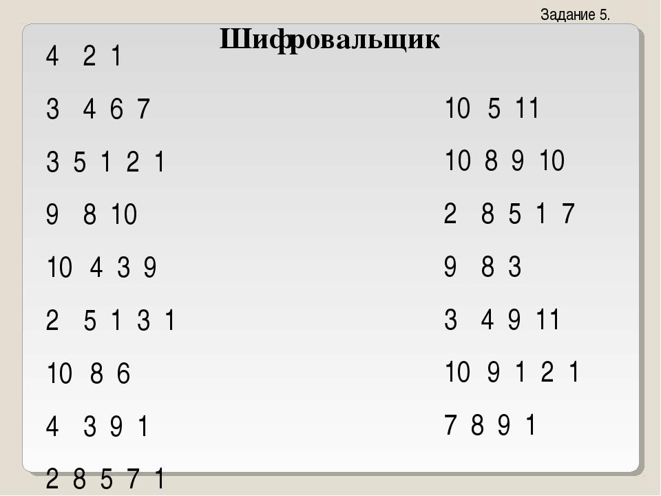 Шифровальщик 2 1 4 6 7 3 5 1 2 1 8 10 4 3 9 5 1 3 1 8 6 3 9 1 2 8 5 7 1 5 11...
