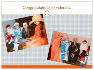 Congratulations to veterans.