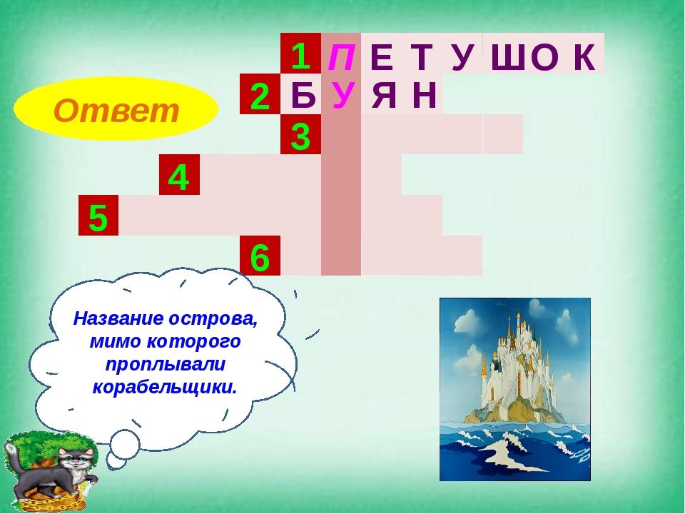 1 2 3 4 5 6 Название острова, мимо которого проплывали корабельщики. Ответ П...