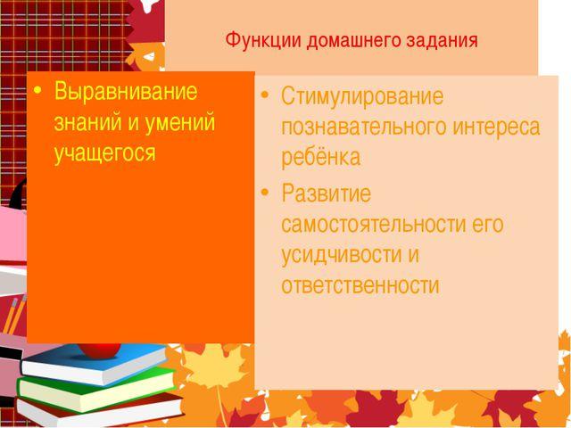 Функции домашнего задания Выравнивание знаний и умений учащегося Стимулирован...